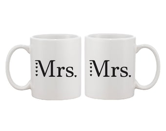 Mrs and Mrs - Mr and Mr - Mr and Mrs Mug Set - Wedding Gift Set - Married Couple Gift -  FREE UK SHIPPING