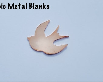 Large Swallow Copper Blank, Sparrow Stamping Blank, Metal Bird Blank, Flying Bird Blank, Aluminium Swallow Blank, Metal Stamping, Sparrow