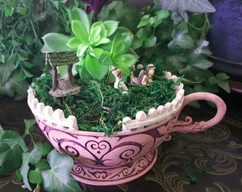 Miniature Teacup Planter - Pink