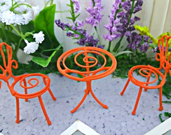 Miniature Bistro Set - 3 pc - Table and Chairs in Summer Orange