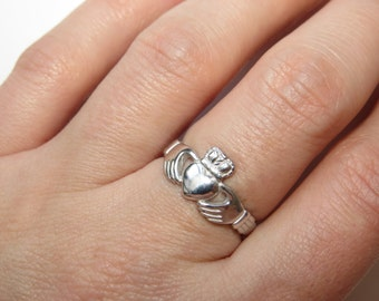 silver claddagh ring claddagh ring gold plated ring friendship ring irish ring - Crown Wedding Rings