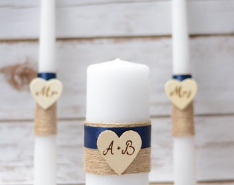 Rustic Unity Candle Set Navy Blue Candle Personalized  Wedding Unity Set Burlap wedding
