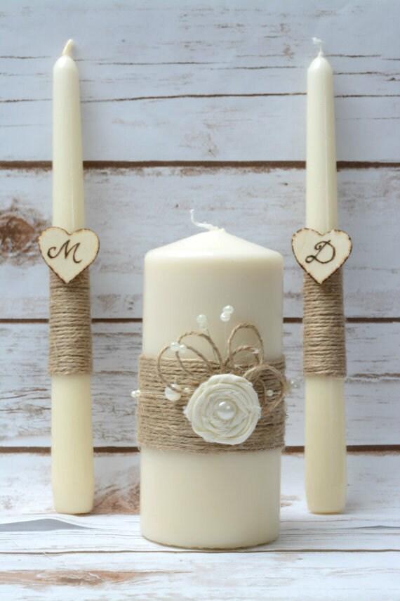 Ivory Unity Candle Set Rustic Unity Candles Wedding Candle