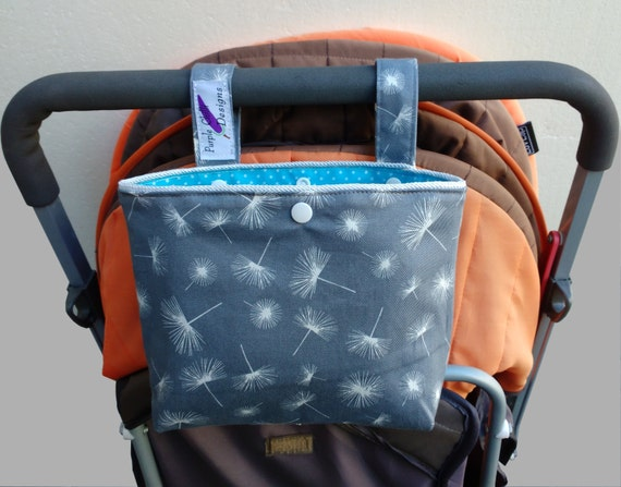 Pram caddy / pram organiser / mini wet bag / Makeup Bag - Montreux Dandelion Drill Grey & White