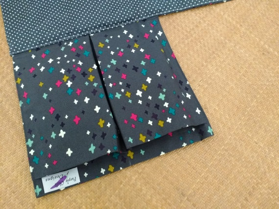 Nappy Wallet - Nappy Wallet with attached waterproof Change Mat - Nappy changing pad- three or two pockets - grey with multicoloured crosses