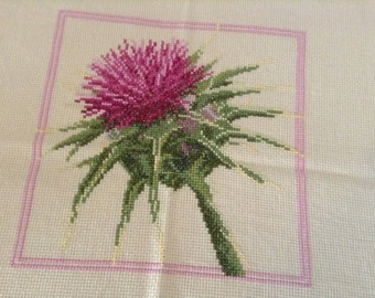 Small embroidered tablecloth-with thistle