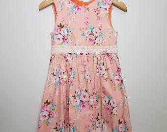 SOPHIA GRACE Shabby chic tea party dress { Size 3 } girls dress summer floral lace trim peach