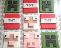 x12 Edible Minecraft Cupcake Topper Set | Creeper, Pixels, Birthday