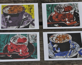 Coffee Time Art cards of batiks, ready to frame, great for gifts, pick me up in an envelope