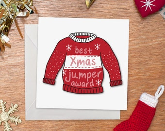 Best Christmas Jumper Award Card | Merry Christmas | Funny Christmas Card | Funny Holiday Card | Ugly Sweater Card | Illustration | Humour
