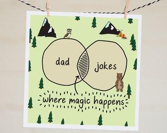 Dad Jokes Card | Venn Diagram Card | Funny Father's Day Card | Thanks Dad | Father's Day Card | Handmade | Card for Dad | Happy Birthday Dad