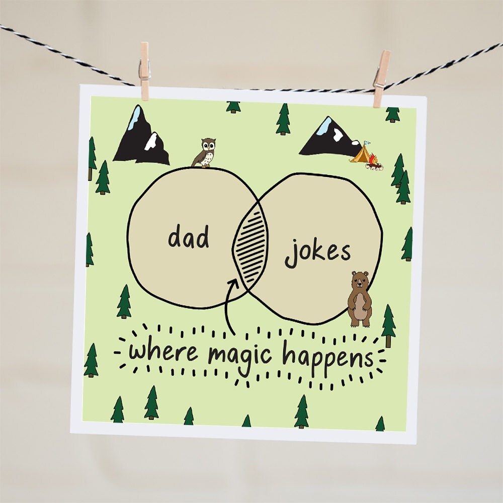 Funny Birthday Card For Dads Bad Dad Jokes Funny Card For: Venn Diagram Card Dad Jokes Card Funny By WordFindersClub
