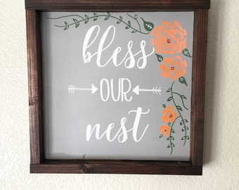 Bless Our Nest Framed Wood Sign
