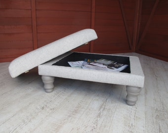 Storage footstool with luxurious wool upholstery