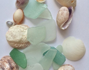 Large Pieces of Sea Glass, Genuine Beach Glass, Genuine Sea Glass, Tumbled Glass, Green and White Sea Glass,