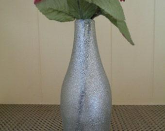 Glittered bud vase - upcycled bottle