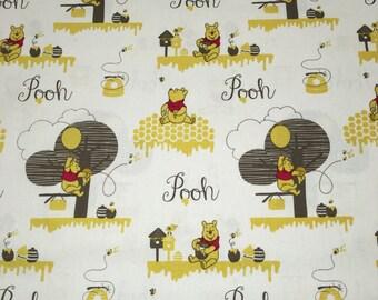 Winnie the POOH Honey Scenic Gray Yellow Designer Apparel Quilting Baby 100% Cotton Fabric 1 Yard