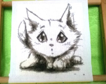 "Finished embroidery ""cute kitty"", Home decor, Gift, Finished cross stitch"