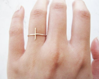 Sterling silver cross ring//sideways cross ring, silver sideways cross, side cross, thin silver cross ring, dainty ring, minimalist, Gift