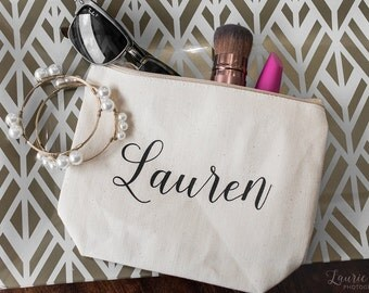 Cosmetic Bag - Personalized Make Up Bag - Maid of Honor Bag - Bridesmaid Bag - Flower Girl Bag - Canvas Bag - Bridal Party Gifts - Make Up