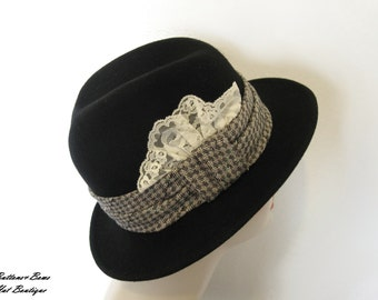 Vintage Womens Black Wool Fedora Hat~ Sonni San Francisco
