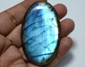 197.75 Carats Blue Fire Labradorite Cabochon Gemstone, Oval Shape, Black Rainbow, Gemstone For Pendant, 40x66mm