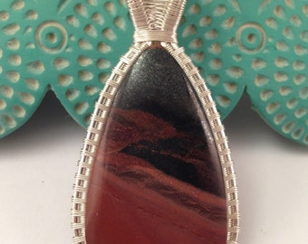 Indian Paint Stone Wire Wrapped Pendant