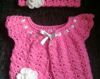 Crochet Baby Girl Cardigan & Headband Set (Newborn)