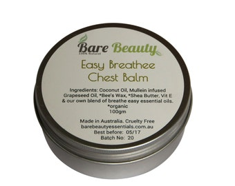 100gm Easy Breathee Chest Balm with infused oils, eucalyptus, peppermint, lavender, wintergreen and camphor