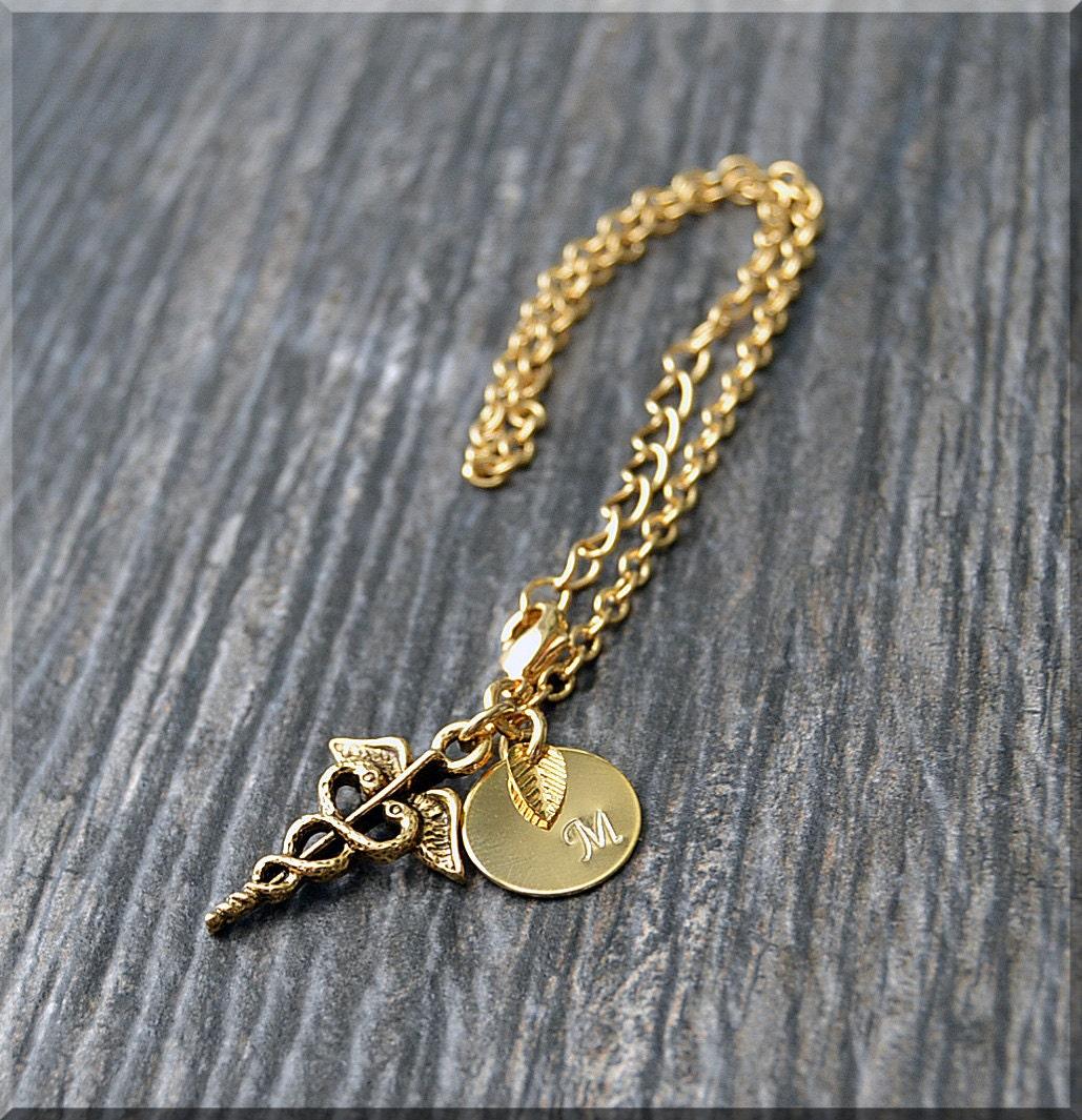 Gold Caduceus Charm Bracelet Initial Charm Bracelet