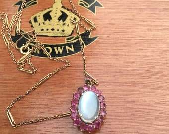 Wonderful Moonstone and Ruby Necklace