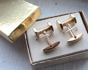 Vintage 1960s Cufflinks // 50s 60s Golden Brass Nuts and Bolts Novelty Cufflinks with Gift Box // NOS // Mens Accesories