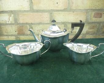 nice vintage Angora Plate  Silver Plated 3 Piece tea set Teapot  sugar milk EPNS
