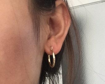 Simple hoop earrings, golden hoop earrings