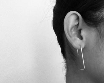 minimal silver hook earrings, lightweight wired, simple earrings