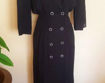 Vintage 80s High Waist Secretary Black & White Midi Dress