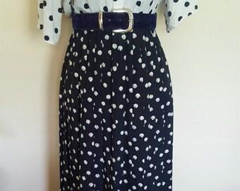 Vintage 1950s High Waist Midi Polka Dots Skirt
