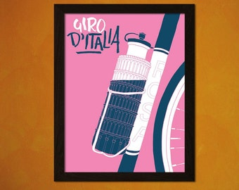 Printed on Washi Japanese PaperGiro D'Italia Tour Of Italy Poster  Cycling Poster  Decor  Bike Art Print Bicycle Cycling  bp