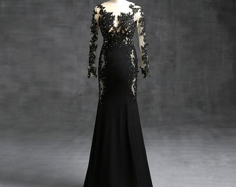 Black Lace Long Sleeved Evening Dress