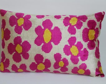 Pink Ikat Velvet Pillow -  15'' x 24''  Pink Pillow Accent Sofa Pillows Ikat Lumbar Pillow Cover Velvet Pillow Cover Pink Couch Pillow