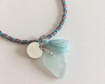 Sea Glass Bracelet, Sea Glass Jewellery, Beaded Bracelet, Beaded Jewellery, Cluster Bracelet, Charm Bracelet, Turquoise Bracelet, Mermaid