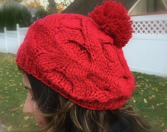 Knit hat women winter hat pom pom hat chunky knit hat pom pom Beanies knit beanies gift for her