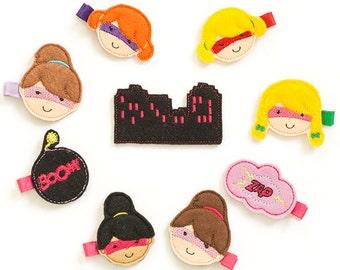 superhero hair clips, super hero, superhero barrettes, superhero birthday party favor, supergirl, felt barrette, felt hair clip, hero feltie