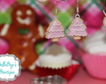 Pink Christmas Tree Cookie Earrings