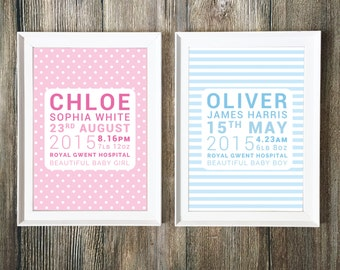 New Baby Personalised Framed Print