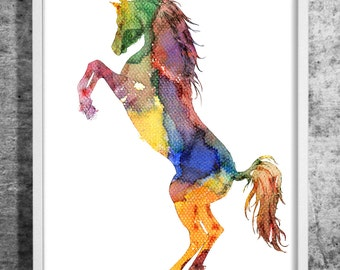 Horse 02 design  watercolor art print, watercolor painting, horse, animal, decorative horse art, colorful wall decor, INSTANT DOWNLOAD