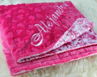 "Hot Pink Minky Baby Girl Blanket 29""x36"" Can Be Personalized, Infant Blanket ,Crib Blanket, Stroller Blanket, Baby Shower Gift"