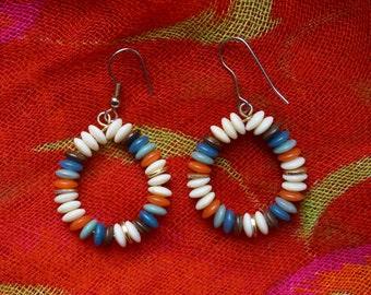 Vintage Boho Chic Simple Round Beaded Dangle Earrings in Earthy Colors