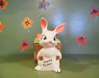 1977 Easter Bunny Rabbit Candy Dish Lid Egg Holiday Home Decor Kitsch Mid Century Modern Retro Vintage