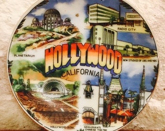Vintage Souvenir Hollywood California Plate by Victoria from Japan